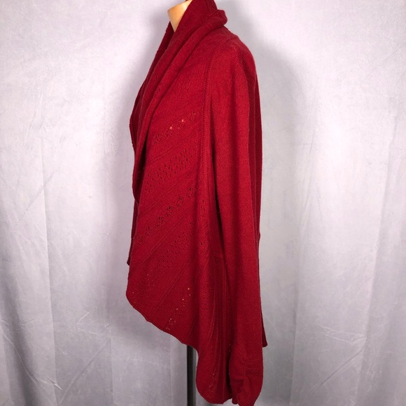 Anthropologie Knitted & Knotted red cardigan